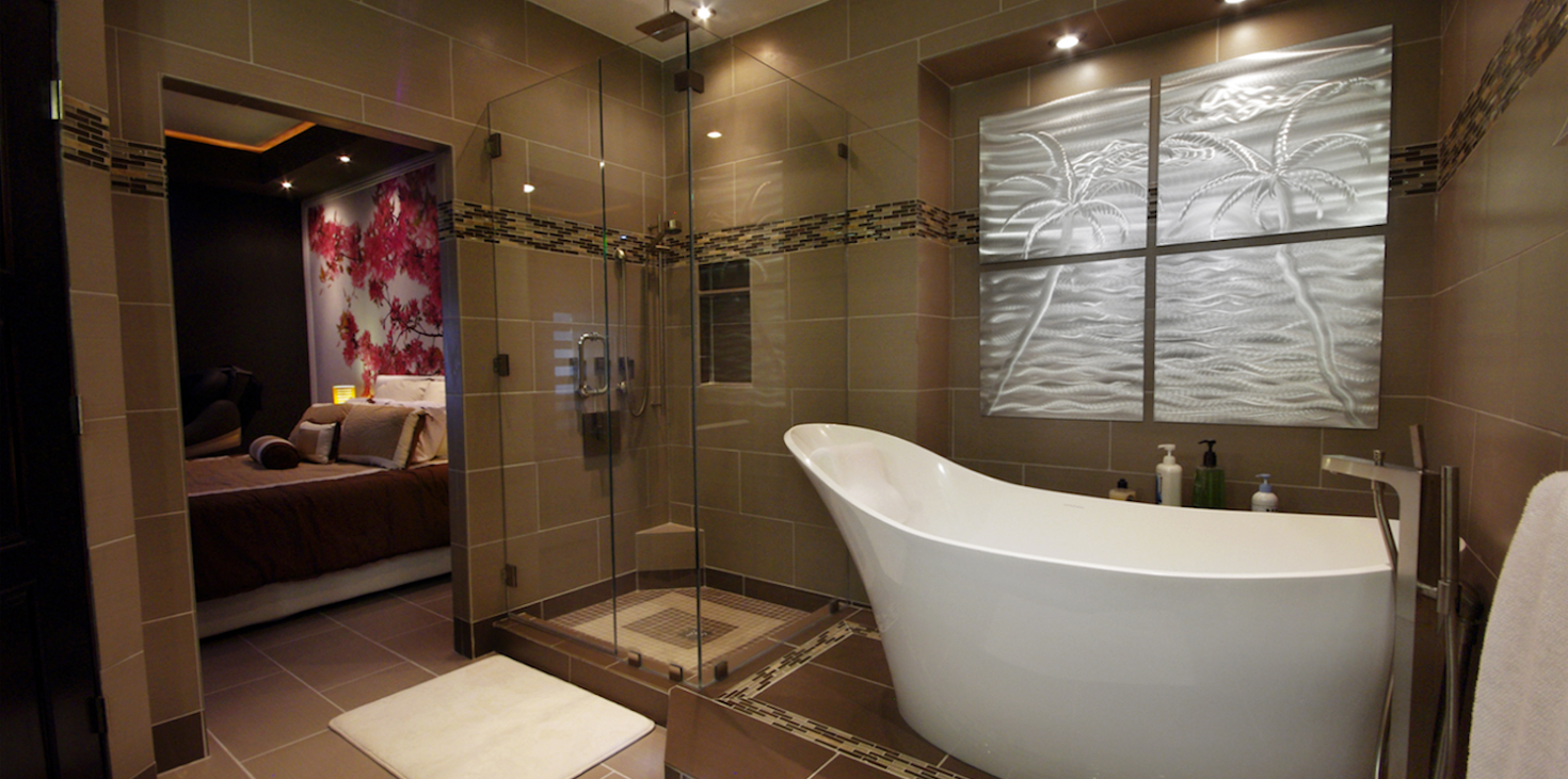 Picture showcasing our bathroom remodeling services on sterling va a brand new tub and a beautiful glass shower